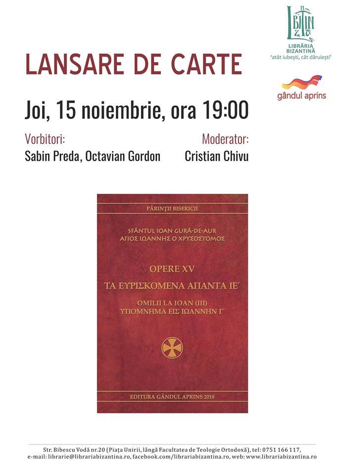 LANSARE DE CARTE – OMILII LA IOAN, VOL. III