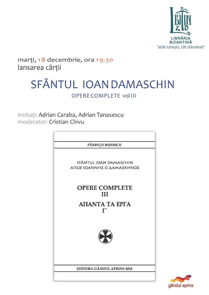 SFÂNTUL IOAN DAMASCHIN – OPERE COMPLETE VOL. III